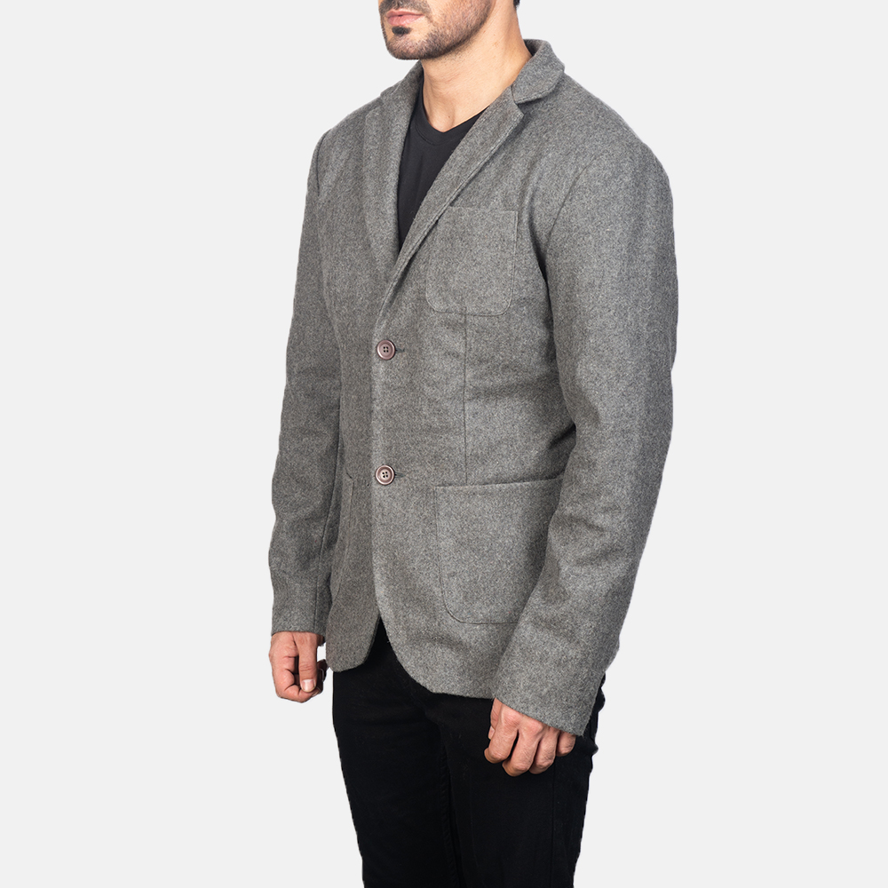 Men's Grey Wool Blazer 2