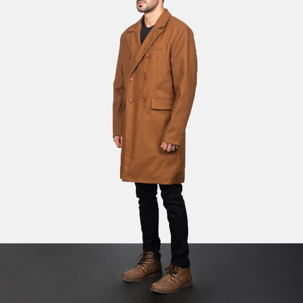 Men's Claud Khaki Wool Double Breasted Coat 2