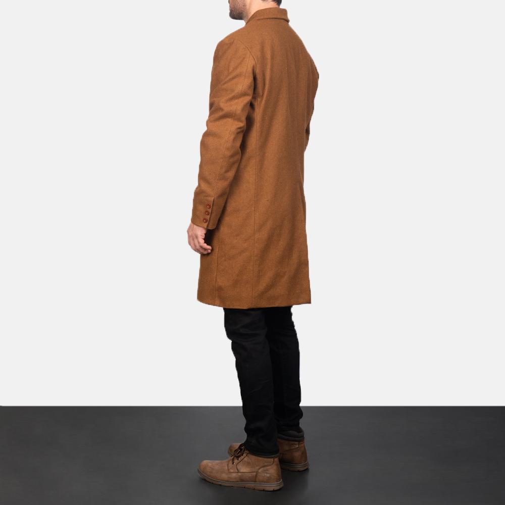 Men's Claud Khaki Wool Double Breasted Coat 5