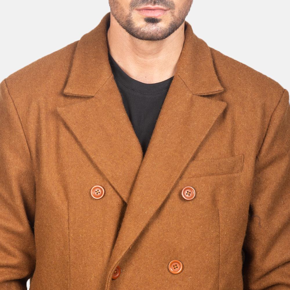 Men's Claud Khaki Wool Double Breasted Coat 6