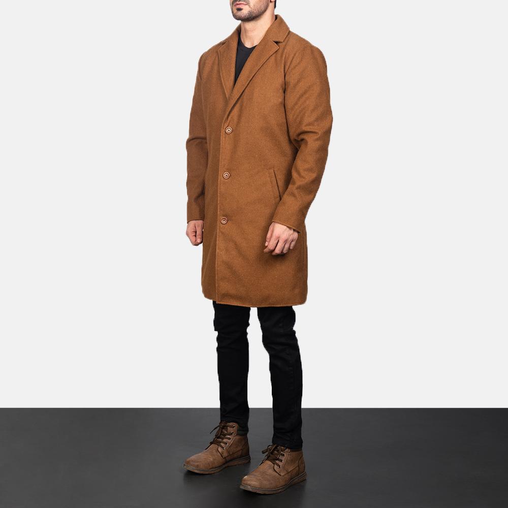 Men's Black Wool Single Breasted Coat 2