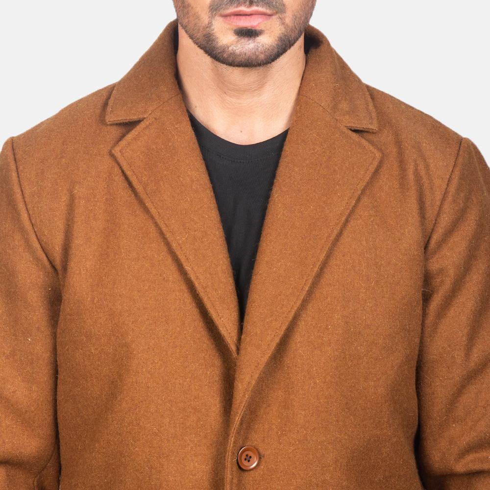 Men's Black Wool Single Breasted Coat 6