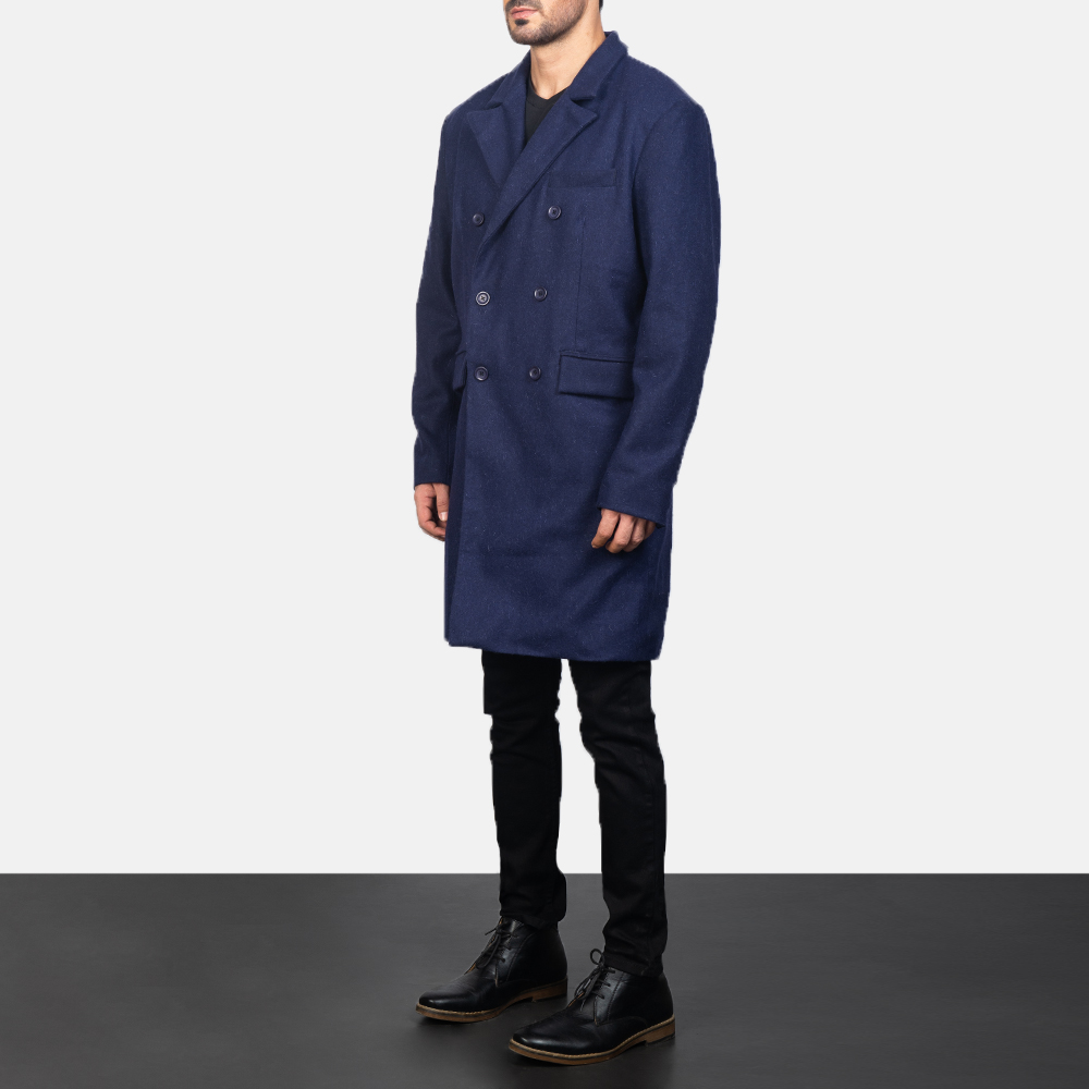 men's blue trench coat