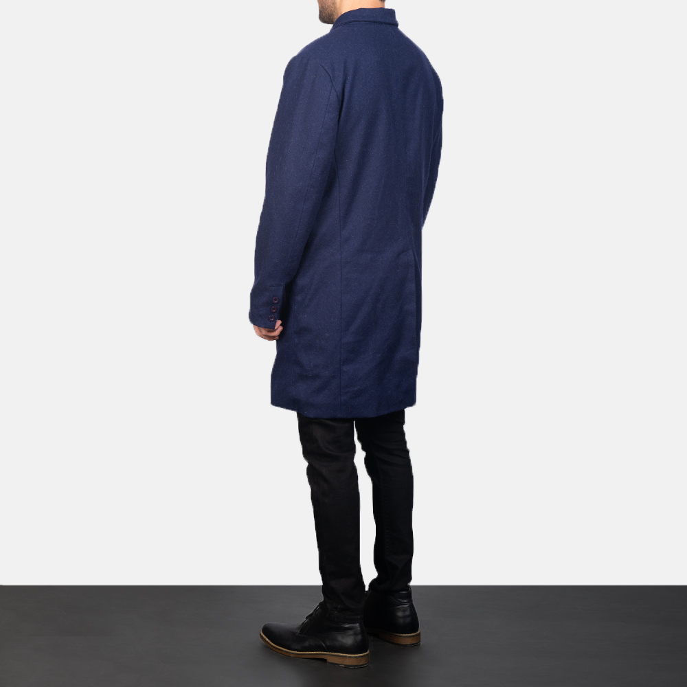 Men's Blue Wool Double Breasted Coat 5