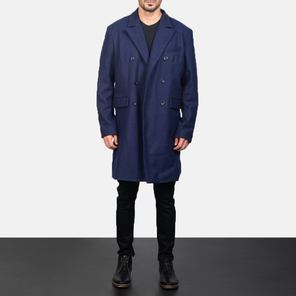 Men's Blue Wool Double Breasted Coat 3