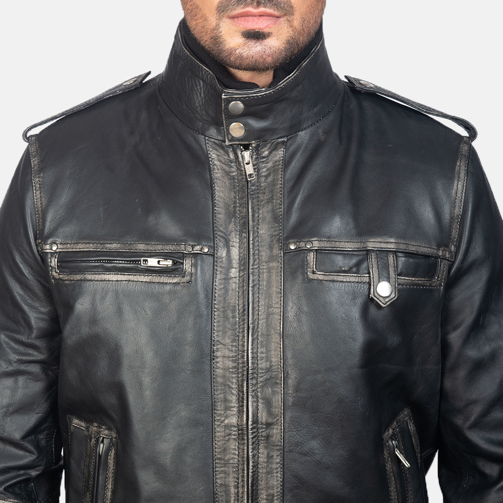 Mens Glen Street Black Leather Bomber Jacket 6