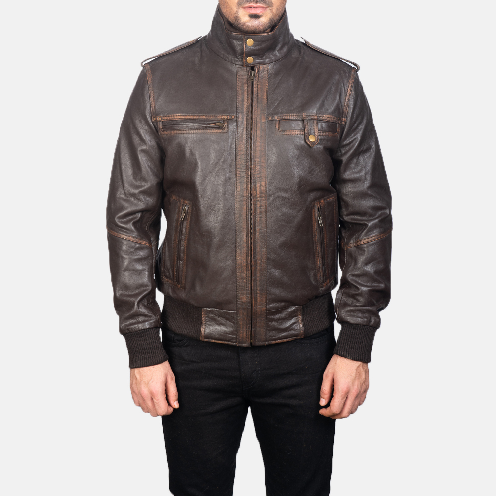 Mens Street Brown Leather Bomber Jacket 4