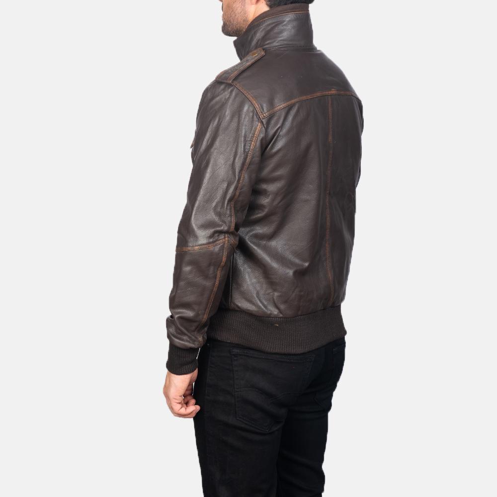 Mens Street Brown Leather Bomber Jacket 5