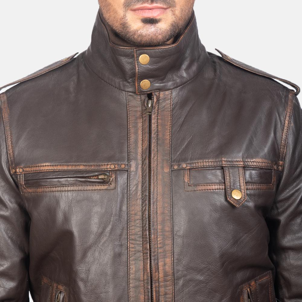 Mens Street Brown Leather Bomber Jacket 6