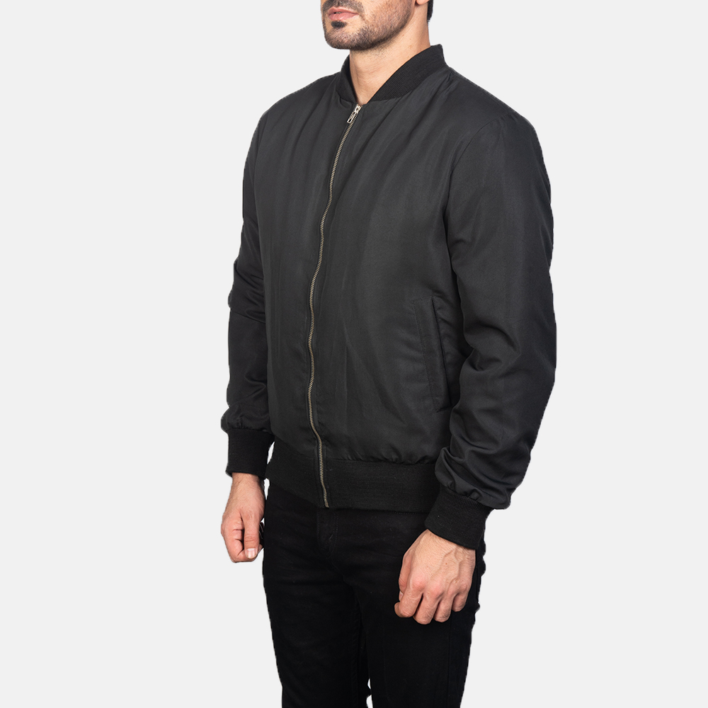 Men's Zack Black Bomber Jacket 2