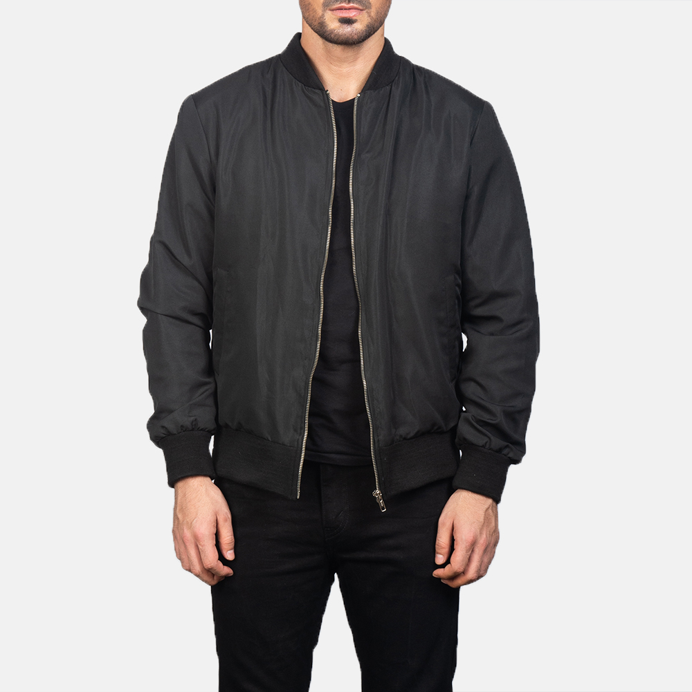 Men's Zack Black Bomber Jacket 3