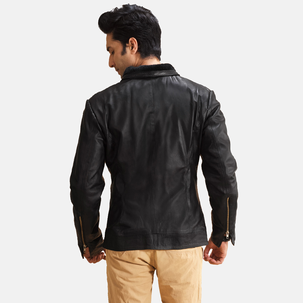 Mens Thackery Black Leather Jacket 4