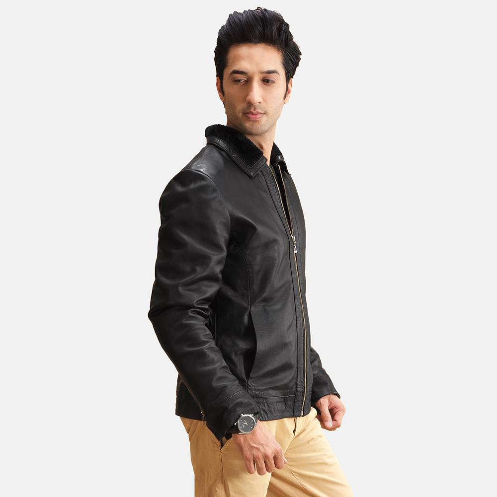 Mens Thackery Black Leather Jacket 3