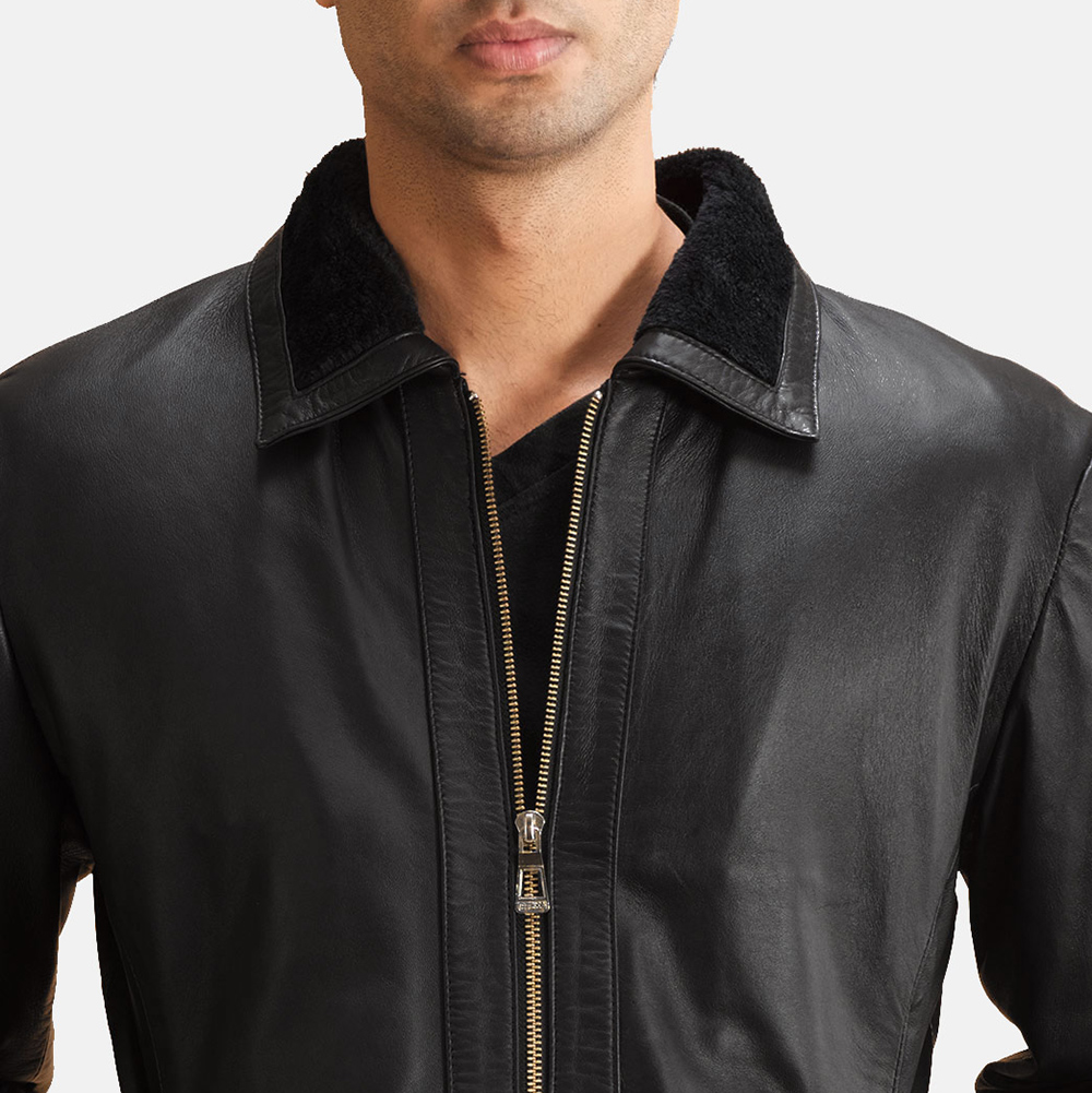 Mens Thackery Black Leather Jacket 5