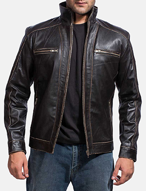 Mens Brownson Leather Biker Jacket