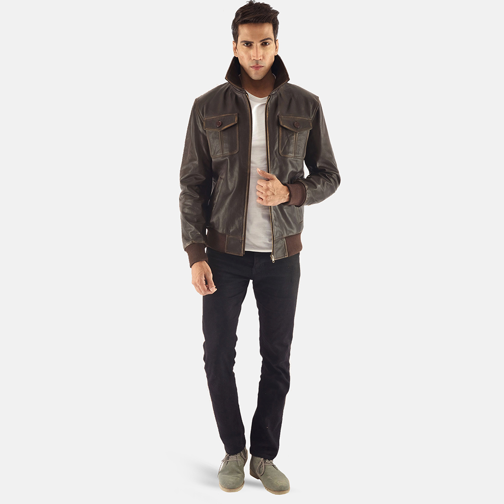 Mens Aaron Brown Leather Bomber Jacket 2