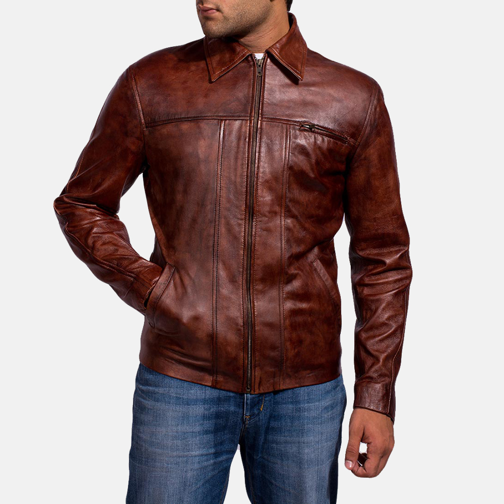 Mens Abstract Maroon Leather Jacket 2