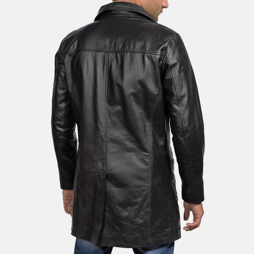 Mens Alan Black Leather Coat 5
