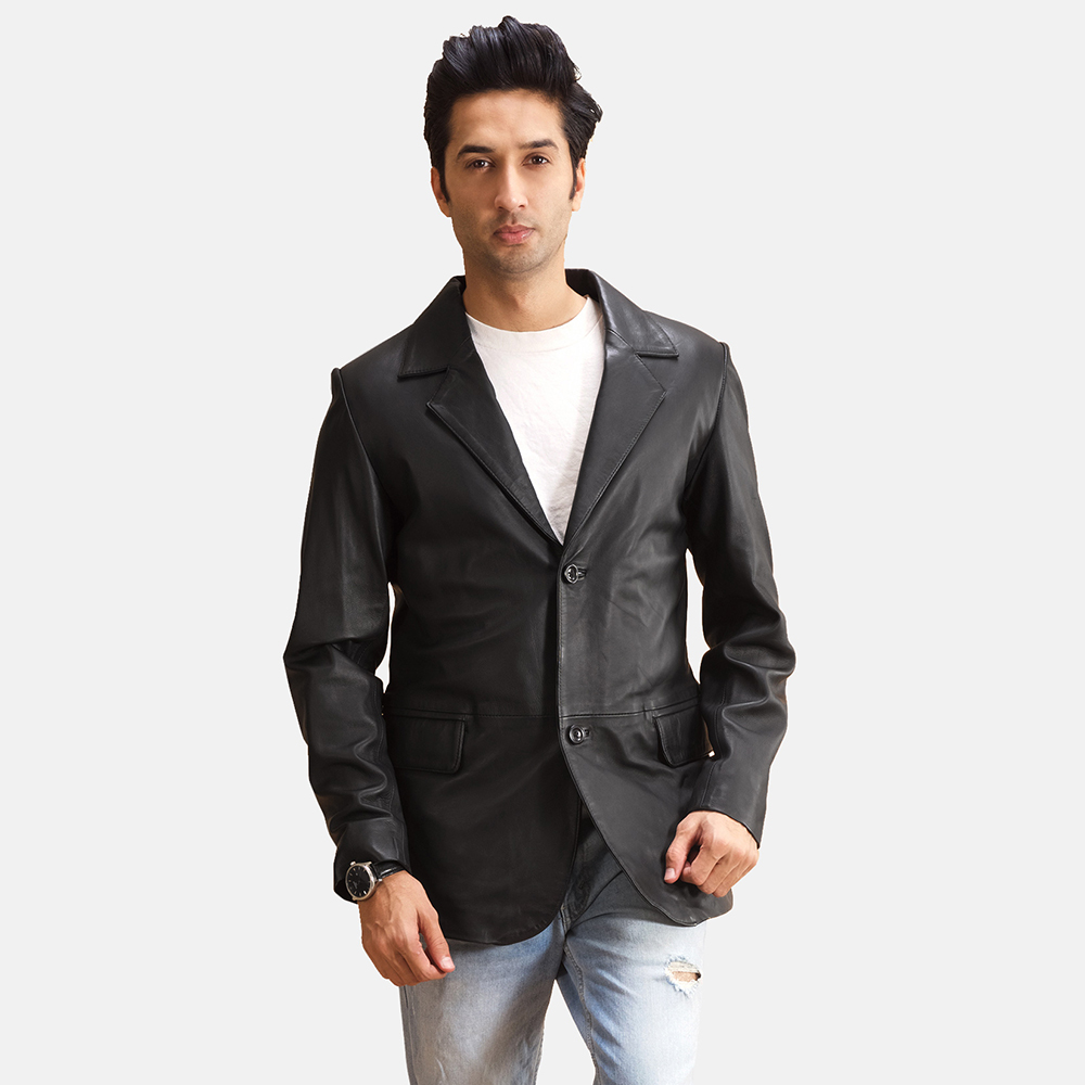 Mens Alyson Black Leather Blazer 1
