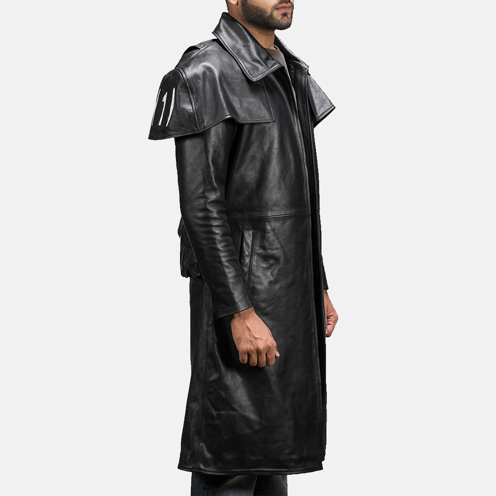 Mens Black Leather Duster Made Of Premium Cowhide Leather 5