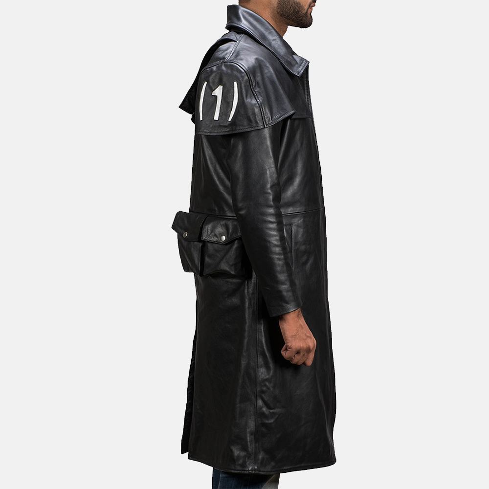 Mens Black Leather Duster Made Of Premium Cowhide Leather 4