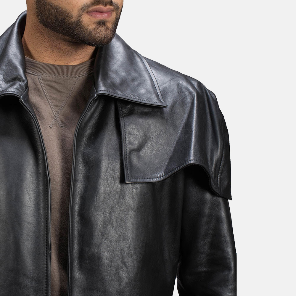 Mens Black Leather Duster Made Of Premium Cowhide Leather 3