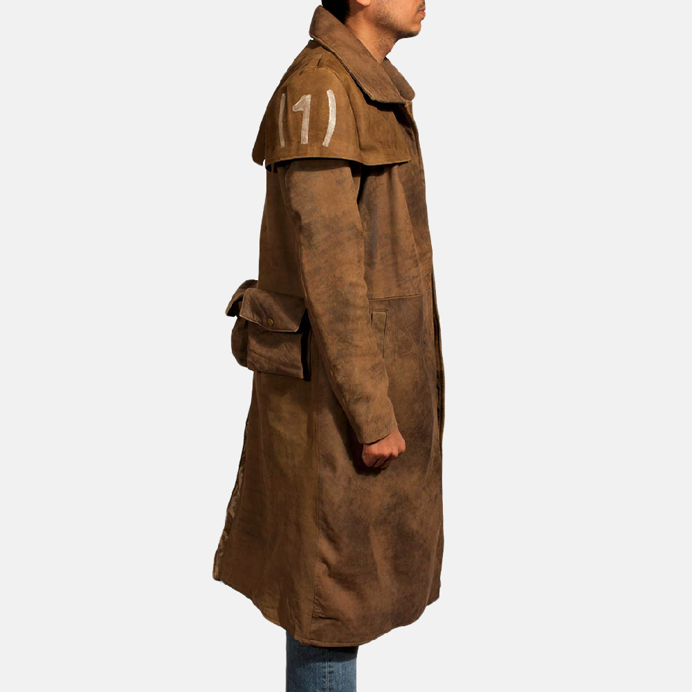Mens Brown Leather Duster - Premium Sheepskin Leather 4
