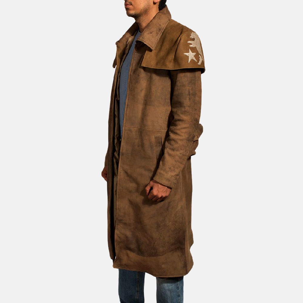 Mens Brown Leather Duster - Premium Sheepskin Leather 3
