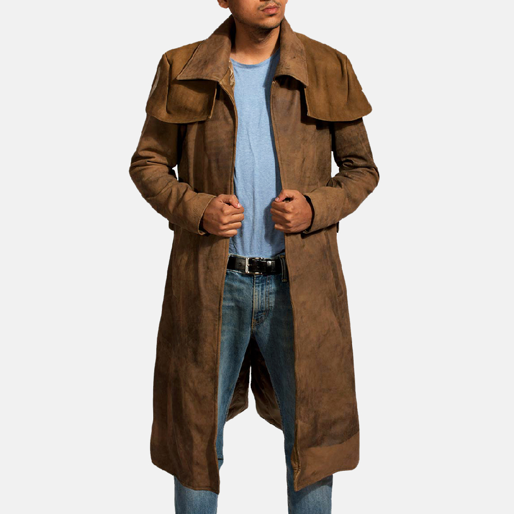 Mens Brown Leather Duster - Premium Sheepskin Leather 1