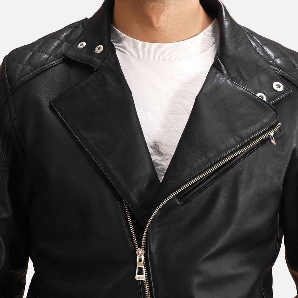 Mens Danny Jargo Quilted Black Leather Biker Jacket 5