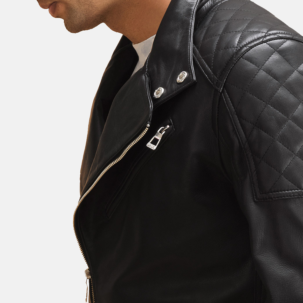 Mens Danny Jargo Quilted Black Leather Biker Jacket 6