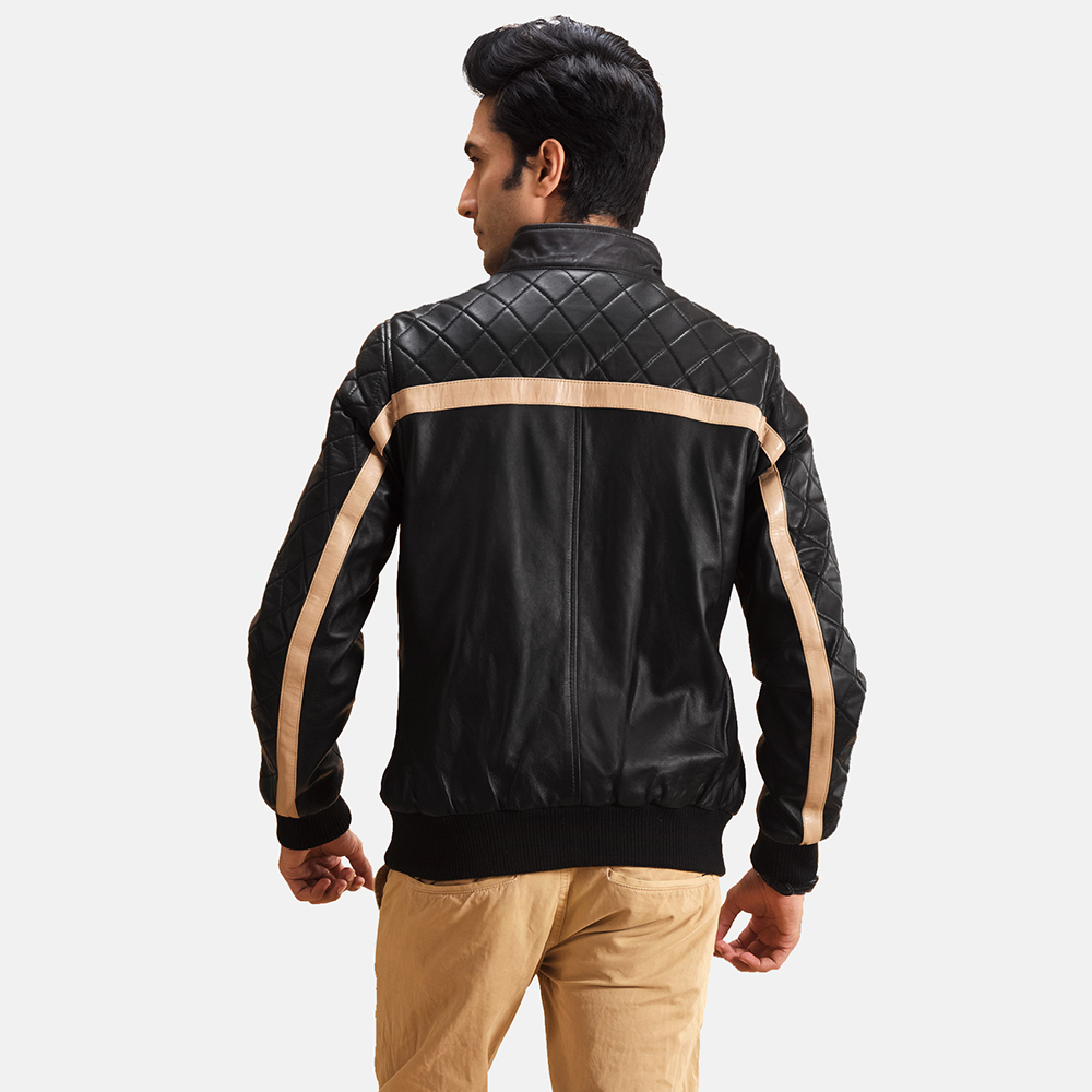 Mens Danson  Black Leather Bomber Jacket 4