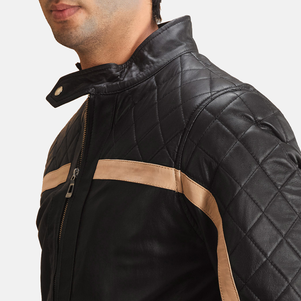 Mens Danson  Black Leather Bomber Jacket 6