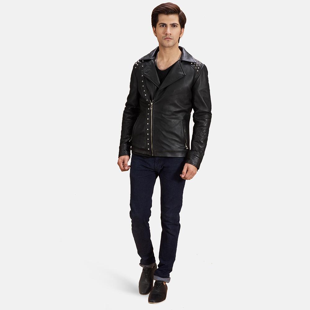 Mens Black Studded Leather Biker Jacket 2