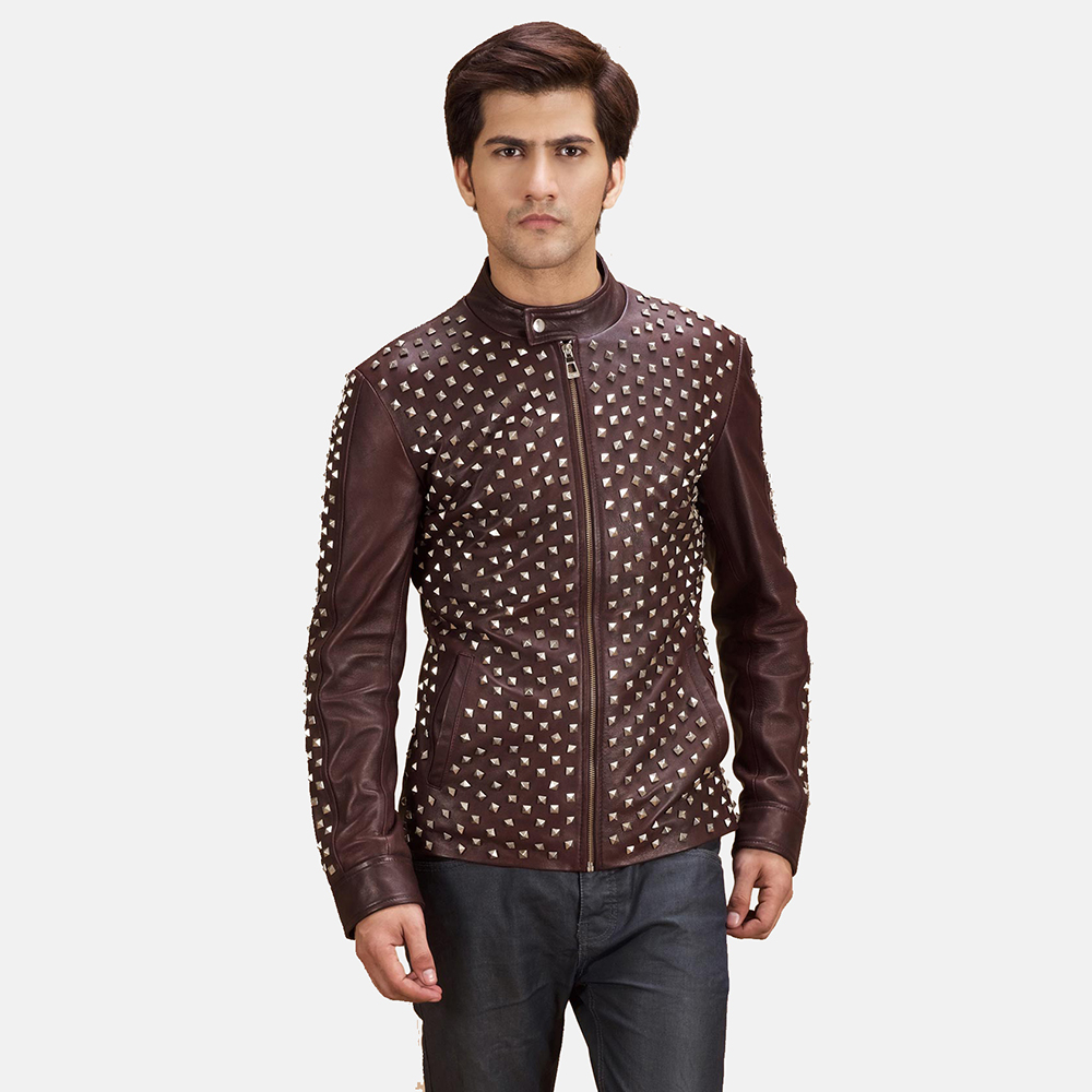 Mens Blix Bono Studded Maroon Leather Biker Jacket 1