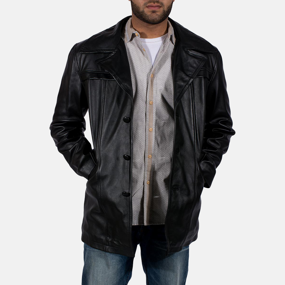 Mens Brawnton Black Leather Coat 1