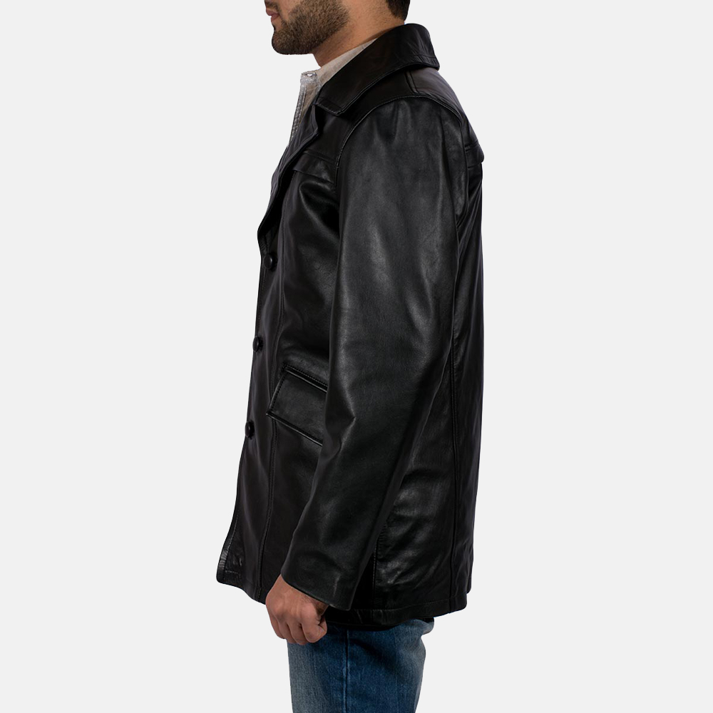 Mens Brawnton Black Leather Coat 3
