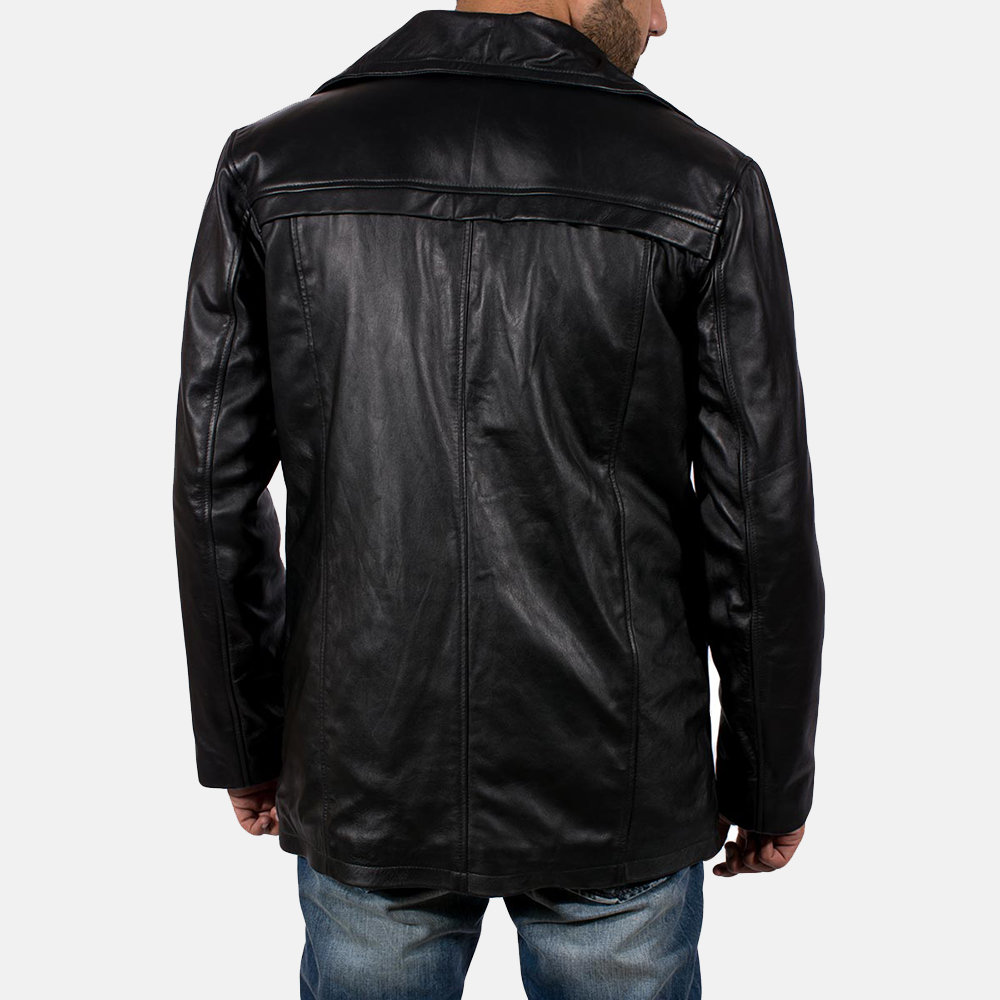 Mens Brawnton Black Leather Coat 4
