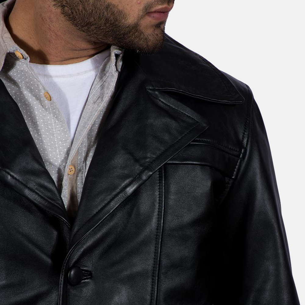 Mens Brawnton Black Leather Coat 5