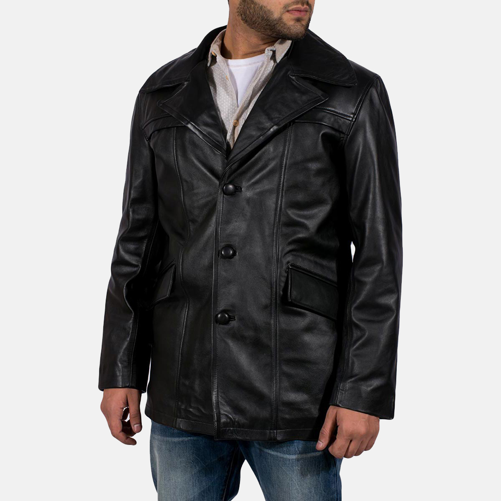 Mens Brawnton Black Leather Coat 2