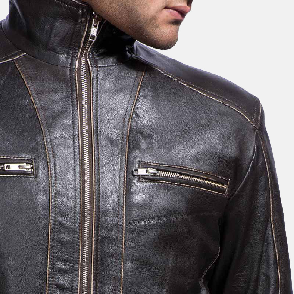 Mens Brownson Leather Biker Jacket 3