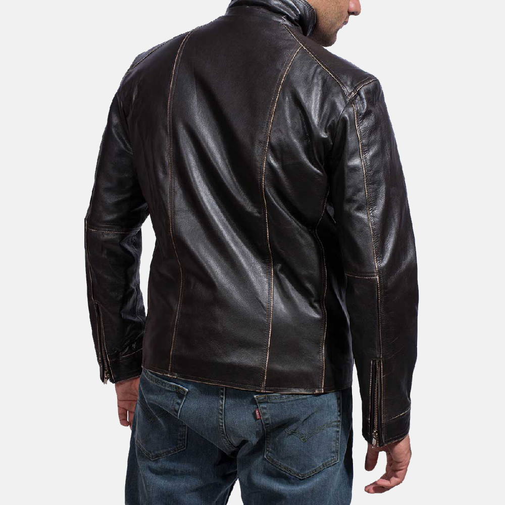 Mens Brownson Leather Biker Jacket 4