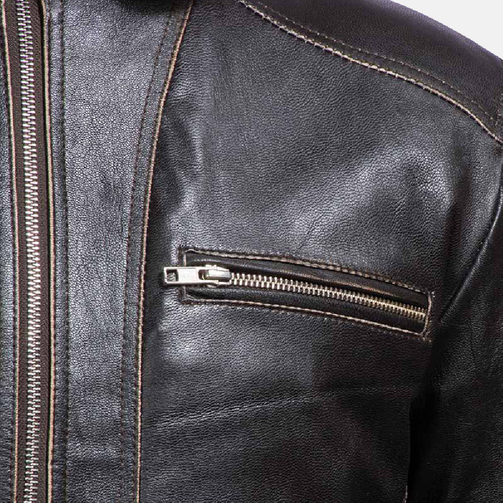Mens Brownson Leather Biker Jacket 5