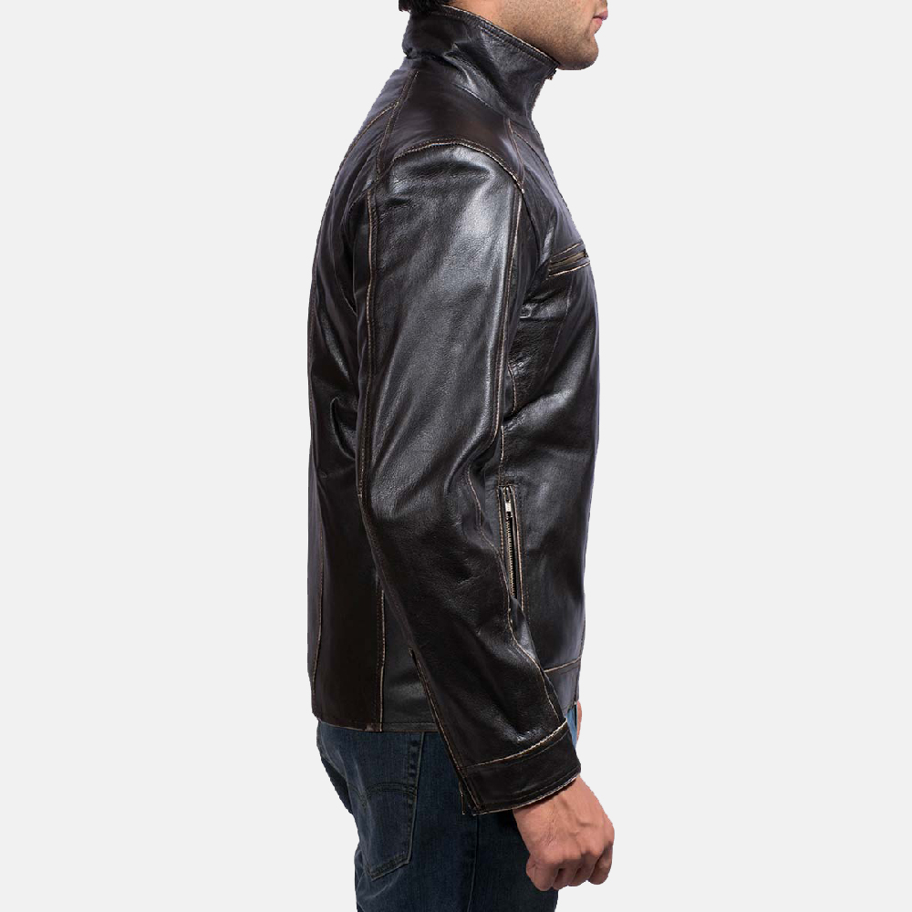 Mens Brownson Leather Biker Jacket 6