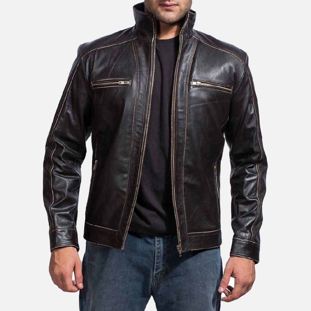 9272af5aa1b0d Mens Brownson Leather Biker Jacket 1