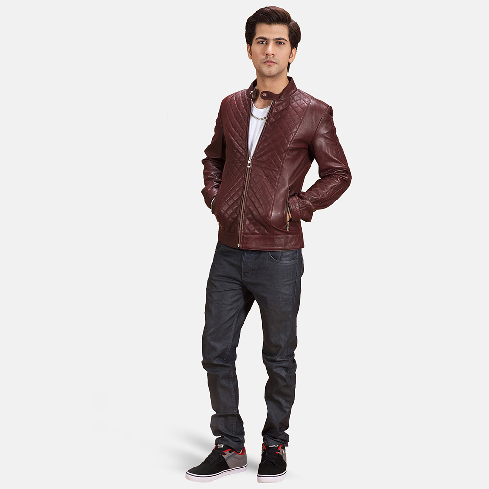Mens Burgunn Dee Quilted Maroon Leather Biker Jacket 2