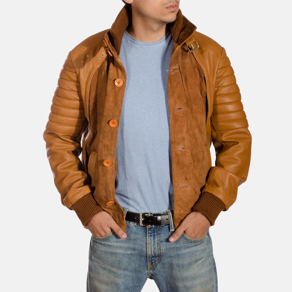Mens Camelleo Brown Leather Jacket 3