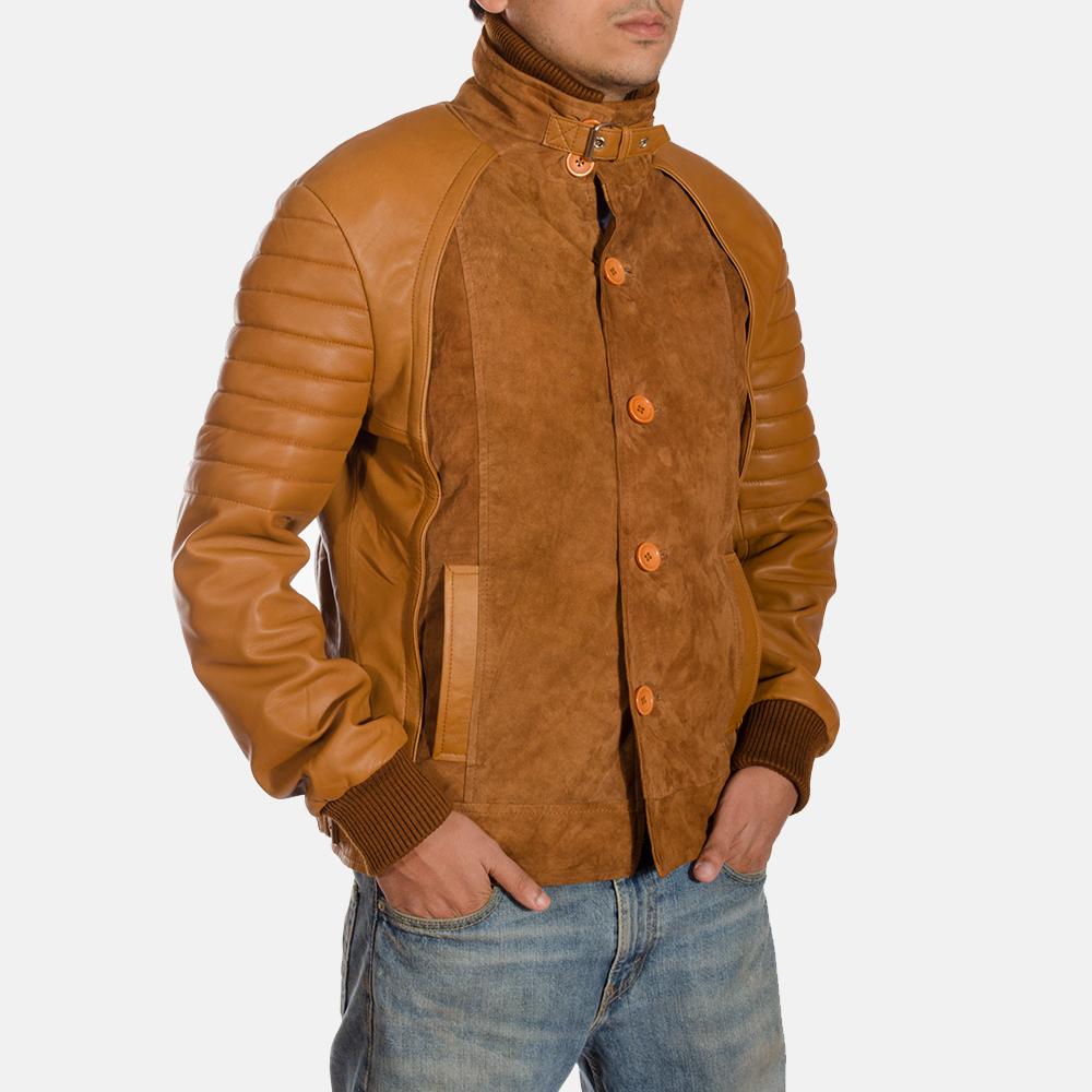 Mens Camelleo Brown Leather Jacket 4