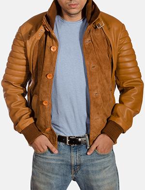 Mens Camelleo Brown Leather Jacket 1