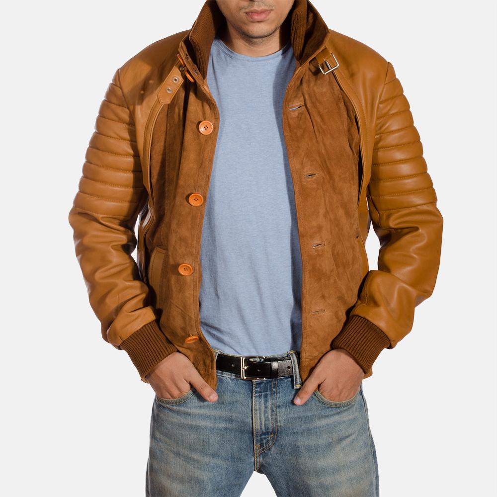 Mens Camelleo Brown Leather Jacket 2